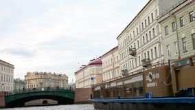 SAINT-PETERSBURG, RUSSIA - 23 JUNE 2017: View of the Moyka river from the boat. stock video footage