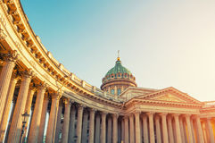 Saint Petersburg ,Russia, Kazan Cathedral facade view. Saint Petersburg ,Russia, Kazan Cathedral in the sunset light Stock Images