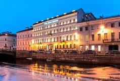 Saint-Petersburg. Russia. Kempinski Hotel Moika 22. SAINT-PETERSBURG, RUSSIA, DECEMBER 21, 2016: Night view of Kempinski Hotel Moika 22 on the Moika River. It is Stock Photo
