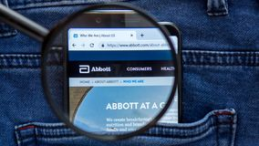 Abbott website homepage. Abbott logo visible on on the smartphone display. Company name. Saint Petersburg, RUSSIA - 29 March, 2019: Abbott website homepage royalty free stock images