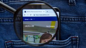 Abbvie website homepage. Abbvie logo visible on on the smartphone display. Company name. Saint Petersburg, RUSSIA - 29 March, 2019: Abbvie website homepage royalty free stock image