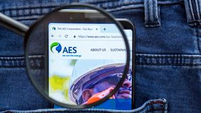 AES website homepage. AES logo visible on on the smartphone display. Saint Petersburg, RUSSIA - 29 March, 2019: AES website homepage. AES logo visible on on the royalty free stock photography