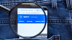 Agilent website homepage. Agilent logo visible on on the smartphone display. Saint Petersburg, RUSSIA - 29 March, 2019: Agilent website homepage. Agilent logo stock photo