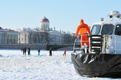 The boat rescue service of Russia. Saint-Petersburg.Russia.March.4.2018.The boat rescue service of Russia.The boat can work in hard-to-reach places.It can move Royalty Free Stock Image