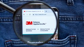 3M website homepage. 3M logo visible on on the smartphone display. Company name is. Saint Petersburg, RUSSIA - 29 March, 2019: 3M website homepage. 3M logo stock photo