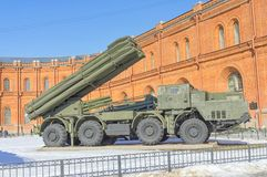 SAINT PETERSBURG, RUSSIA - MARCH 31, 2018: Reactive anti-aircraf. T system on courtyard of Military History Museum of artillery, engineer and signal corps in St Stock Photo