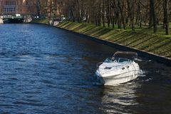 Motor boat on water Royalty Free Stock Images