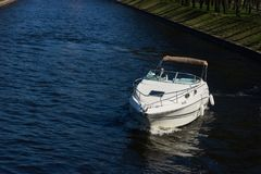 Motor boat on water Royalty Free Stock Photo