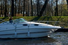 Motor boat on water Stock Photography