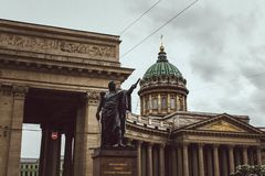 Saint Petersburg, Russia, May 2019. Kazan Cathedral and monument of Kutuzov,View of Kazan Cathedral in rainy weather stock photo