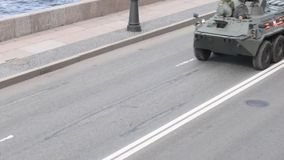 Saint Petersburg, Russia, May 8, 2019, military equipment at the rehearsal of the parade in honor of Victory Day on May 9 stock video footage