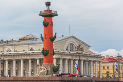 SAINT PETERSBURG, RUSSIA - MAY 27, 2015: Old Saint Petersburg Stock Exchange and Rostral columns Stock Photos