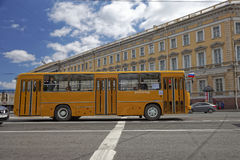 SAINT-PETERSBURG, RUSSIA - 21 MAY 2017: Parade of vintage cars. Old bus. Tinted photo Stock Photo