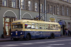 SAINT-PETERSBURG, RUSSIA - 21 MAY 2017: Parade of vintage cars. Old trolleybus. Tinted photo Stock Image