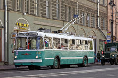 SAINT-PETERSBURG, RUSSIA - 21 MAY 2017: Parade of vintage cars. Old trolleybus. Tinted photo. Stock Photo
