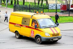 GAZ 27052 Gazelle. Saint Petersburg, Russia - May 26, 2013: Recovery gas service van GAZ 27052 Gazelle in the city street Royalty Free Stock Photography