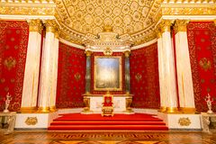 Saint Petersburg, Russia - May 12, 2017: Royal throne, Interior of the State Hermitage, a museum of art and culture in Stock Photography