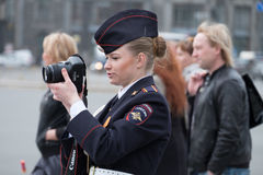 SAINT PETERSBURG, RUSSIA - MAY 5, 2015: Russian female soldiers Royalty Free Stock Photography