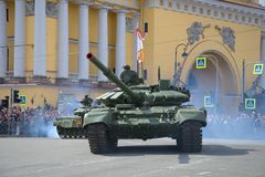 Russian modern tank T-72B3 close-up. Fragment of the military parade in honor of the Victory Day Stock Photo