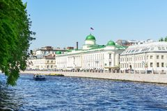 Saint Petersburg, RUSSIA - May 28, 2018: Saint Petersburg, RUSSIA - May 28, 2018: river in St. Petersburg, the channel of the Nev royalty free stock photo