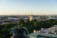 Saint Petersburg, RUSSIA - May 28, 2018: Scenic view on Saint-Petersburg city from the colonnade of St. Isaac at sunset in summer stock photography