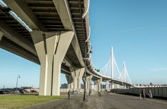 View on ring road and cable bridge on Vasilievsky island. Stock Images