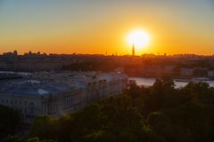 Saint Petersburg, RUSSIA - May 28, 2018: View of St. Petersburg from the colonnade of St. Isaac at sunset in summer stock photography