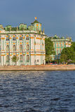 SAINT PETERSBURG, RUSSIA - MAY 30, 2015: Winter Palace where is situated the State Hermitage Museum from Neva river Stock Images