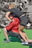 Performing sports massage for athletes. Stock Image