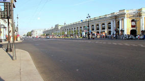 SAINT-PETERSBURG, RUSSIA, Nevsky prospekt - is the main street in the city. SAINT-PETERSBURG, RUSSIA - AUG 2013: City view at wide roadway with tourists day stock video footage