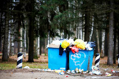 Saint-Petersburg, RUSSIA - NOVEMBER 24: Garbage dump near the road on November 24, 2014 Stock Photos