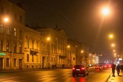 SAINT PETERSBURG, RUSSIA - NOVEMBER 03, 2014: Night street in the Petrogradsky district of St. Petersburg. Royalty Free Stock Photography