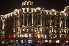 SAINT PETERSBURG, RUSSIA - NOVEMBER 03, 2014: Old building at night in the center Saint Petersburg. Saint Petersburg between 1924 and 1991 named Leningrad. The Stock Photos