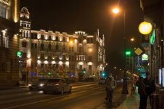 SAINT PETERSBURG, RUSSIA - NOVEMBER 03, 2014: Old building at night in the center Saint Petersburg. Saint Petersburg between 1924 and 1991 named Leningrad. The Stock Image