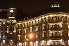SAINT PETERSBURG, RUSSIA - NOVEMBER 03, 2014: Old building at night in the center Saint Petersburg. Saint Petersburg between 1924 and 1991 named Leningrad. The Royalty Free Stock Photography
