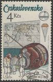 Saint Petersburg, Russia - November 27, 2018: Postage stamp printed in Czechoslovakia dedicated to the flight of the spacecraft stock image