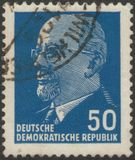 Saint Petersburg, Russia - November 27, 2018: Postage stamp printed in the GDR with the image of Walter Ulbricht stock photo