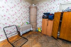 Saint-Petersburg, Russia - November 10, 2016: Sleeping and eating area for refugees in the  apartment for temporar Stock Photo