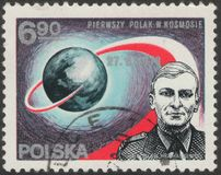 Saint Petersburg, Russia - November 27, 2018: Postage stamp printed in Poland with the image of the first Polish cosmonaut royalty free stock image