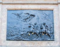 Bronze bas-relief The Battle of Poltava at the bronze equestrian monument to Peter I in Saint Petersburg, Russia Stock Images