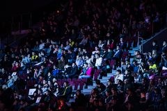 SAINT PETERSBURG, RUSSIA - OCTOBER 29 2017: EPICENTER Counter Strike: Global Offensive cyber sport event. Video games. Fans on a tribune Royalty Free Stock Image