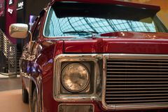 Saint Petersburg, Russia - October 07, 2018: Exhibition of old cars in the Mall. Front light Chevrolet Suburban. stock photo