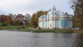 Pavilion `Grotto` in the Catherine park cloudy october day. Tsarskoye Selo. SAINT PETERSBURG, RUSSIA - OCTOBER 17, 2017: Pavilion `Grotto` in the Catherine park stock video footage
