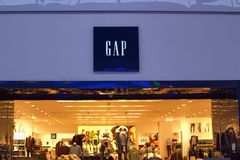 Saint Petersburg, Russia - October 10, 2018: Shop Gap Inc. in the Mall. Company logo stock photography