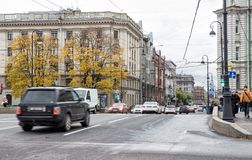 Saint-Petersburg. RUSSIA - OCTOBER 18, 2017: The usual autumn cloudy day in St. Petersburg. Traffic of cars and pedestrians on busy Kamennoostrovsky Prospekt Royalty Free Stock Photography
