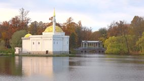 The view of the Turkish bath pavilion, october day. Tsarskoye Selo. SAINT PETERSBURG, RUSSIA - OCTOBER 17, 2017: The view of the Turkish bath pavilion and Marble stock video