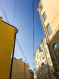Saint-Petersburg, Russia. Old city landcape. Old blocks of flats. Against clear blue sky with copyspace stock image