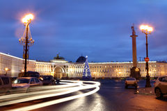 Saint-Petersburg, Russia Palace Square with a Christmas tree, ni Royalty Free Stock Photos