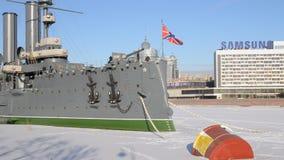 Saint-Petersburg. Russia. People on Cruiser Aurora stock video