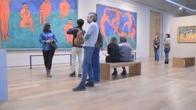 Saint-Petersburg. Russia. People in the hall of Henri Matisse stock video